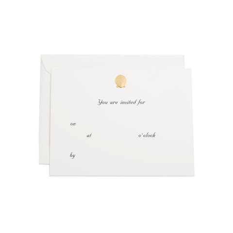 "GOLD SEASHELL ""YOU ARE INVITED"" FILL-IN"