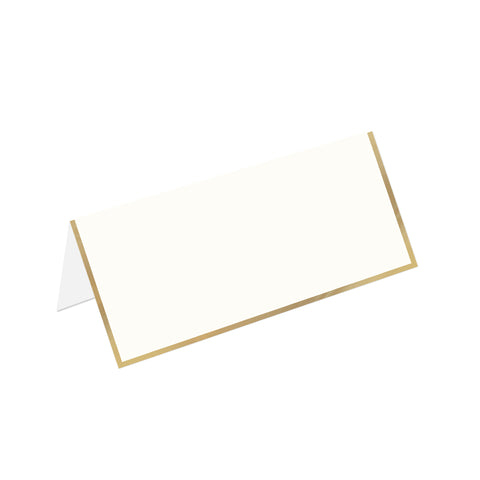 Ecru Foldover Place Card with Gold Border