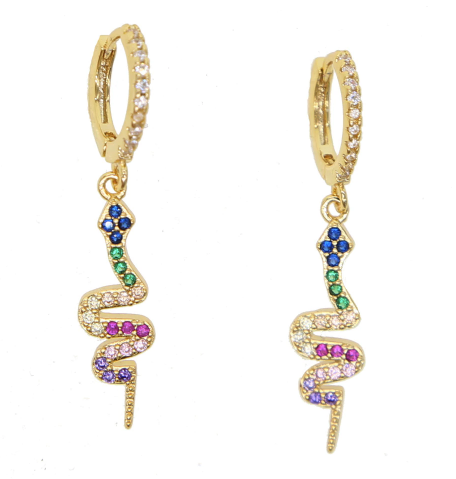 Mini Hoops Rainbow Snake gold