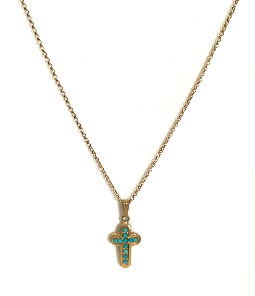 Vintage Cross gold necklace
