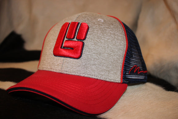 Heathered Grey and Red Never Give up Cap