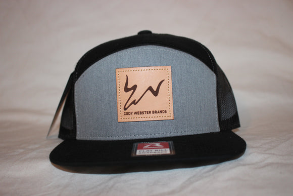 Black and Grey 7 Panel Trucker