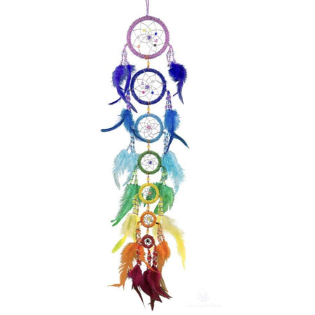 7 Chakra Beaded Dreamcatcher-Cosmic Crystal Visions-Cosmic Crystal Visions