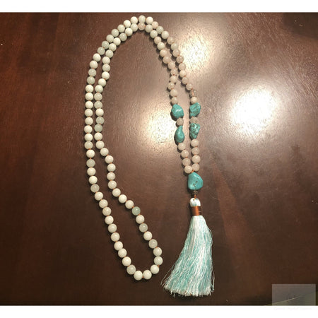 Amazonite, Agate and Howlite Mala Necklace-Cosmic Crystal Visions-Cosmic Crystal Visions