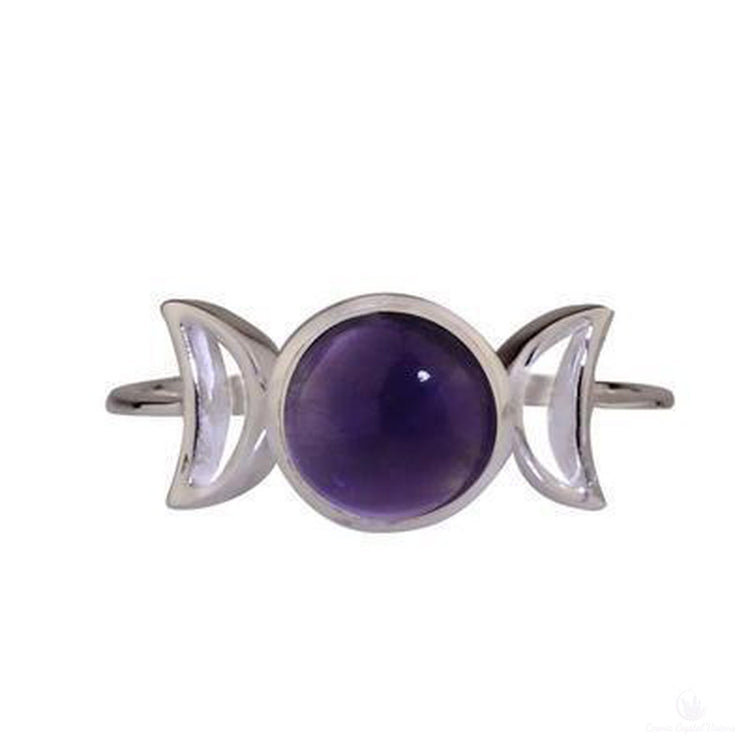Amethyst Crescent Moon Ring-Cosmic Crystal Visions-Cosmic Crystal Visions