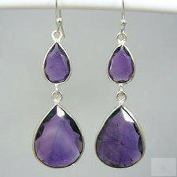 Amethyst Double Drop Earrings-Jewlery-Cosmic Crystal Visions-Cosmic Crystal Visions