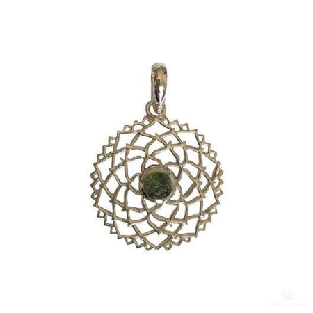Beautiful Moldavite Filigree Pendant, Sterling Silver-Jewlery-Cosmic Crystal Visions-Cosmic Crystal Visions