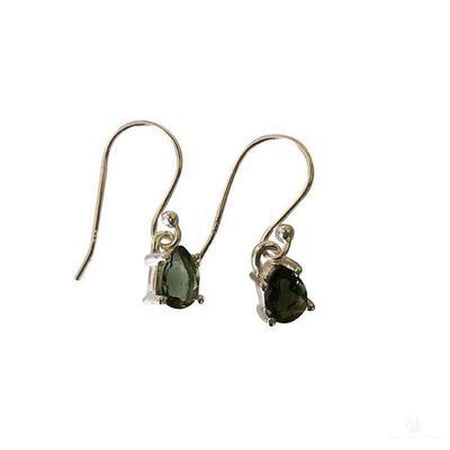 Dainty Faceted Moldavite Dangle Earrings, Sterling Silver-Jewlery-Cosmic Crystal Visions-Cosmic Crystal Visions