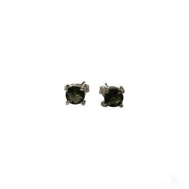Dainty Faceted Moldavite Post Earrings, Sterling Silver-Jewlery-Cosmic Crystal Visions-Cosmic Crystal Visions