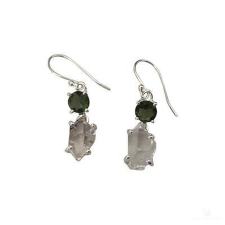 Faceted Moldavite & Herkimer Diamond Dangle Earrings, Sterling Silver-Jewlery-Cosmic Crystal Visions-Cosmic Crystal Visions