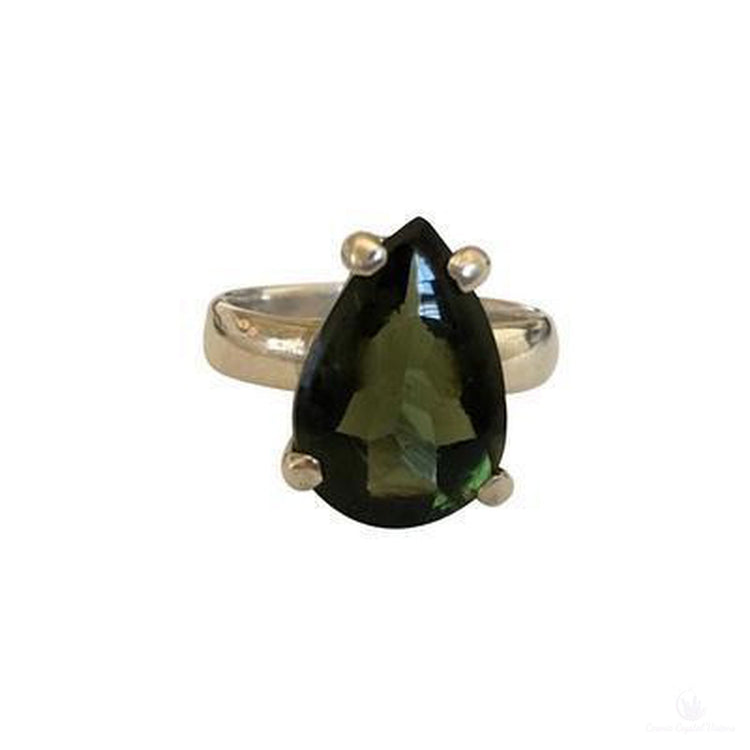 Faceted Tear Drop Shaped Moldavite Ring, Sterling Silver, Size 7-Jewlery-Cosmic Crystal Visions-Cosmic Crystal Visions