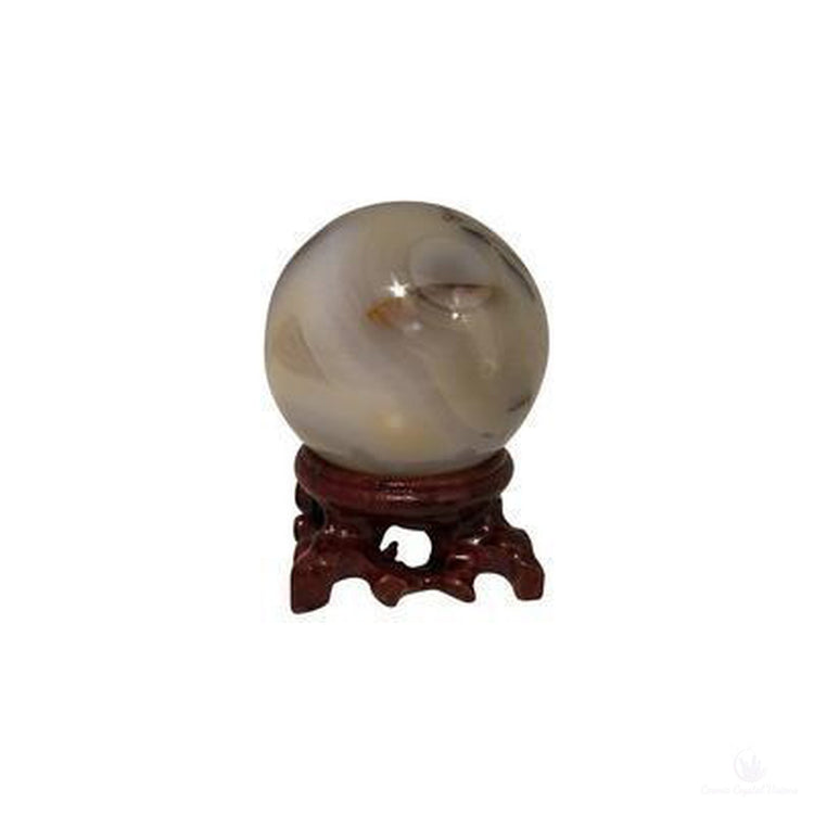 Gray Agate Sphere with stand-Cosmic Crystal Visions-Cosmic Crystal Visions