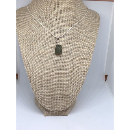 Moldavite Free Form Pendant with Sterling silver chain