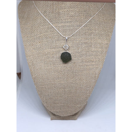Beautiful Moldavite & Herkimer Diamond Pendant, Sterling Silver Necklace