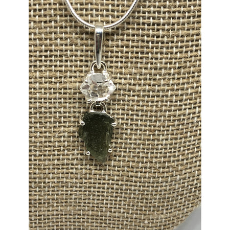 Moldavite & Herkimer Diamond Pendant with Sterling silver chain