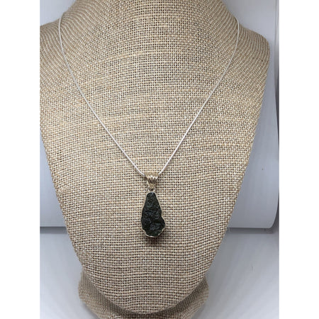 Moldavite Pendant, Sterling Silver with Sterling silver chain