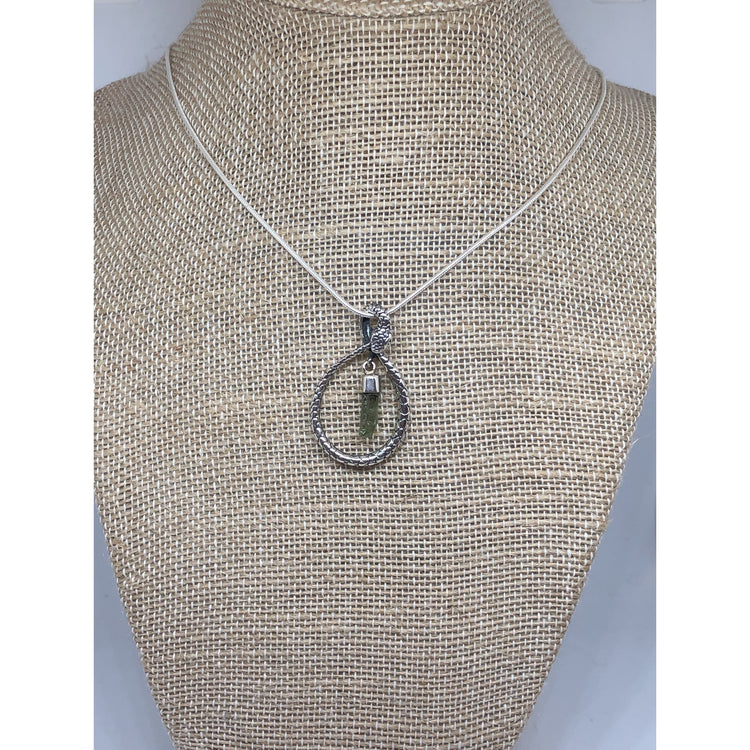 Snake Pendant with Moldavite, Sterling Silver with Sterling silver chain