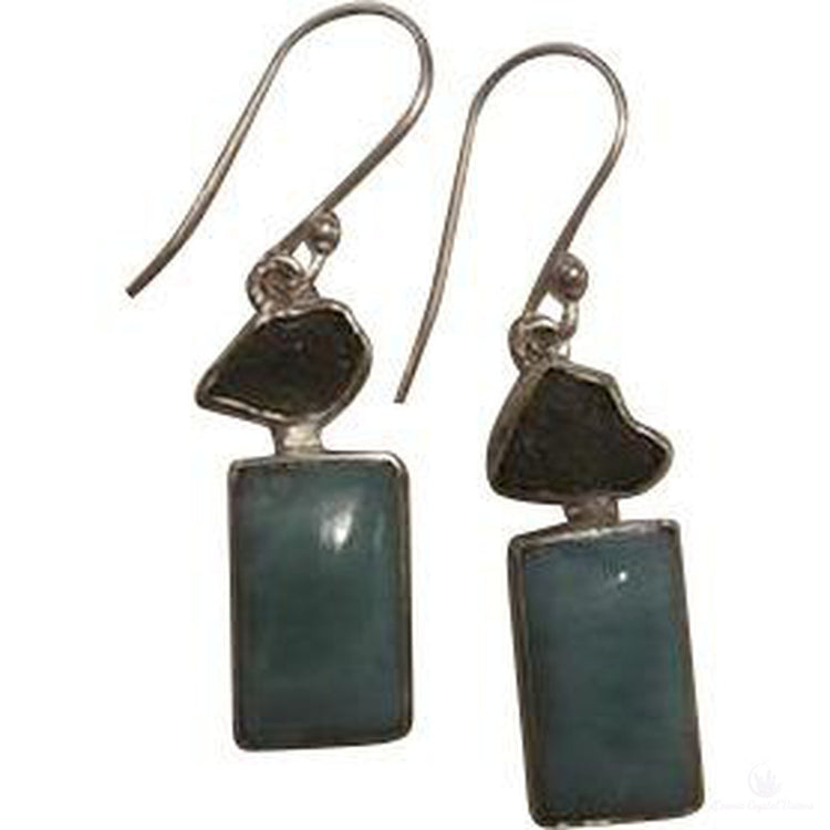 Larimar & Moldavite Sea & Sky Earrings-Cosmic Crystal Visions-Cosmic Crystal Visions