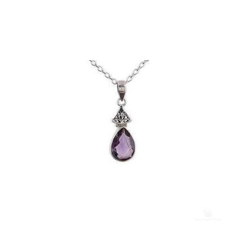 Lavender Drop, Amethyst Sterling Silver Pendant Necklace-Jewlery-Cosmic Crystal Visions-Cosmic Crystal Visions