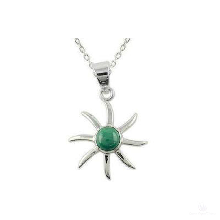 Malachite Verdant Sun Pendant Necklace, Sterling Silver Polished-Jewlery-Cosmic Crystal Visions-Cosmic Crystal Visions