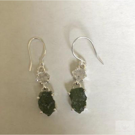 Moldavite and Herkimer Diamond Dangle Earrings, Sterling Silver-Jewlery-Cosmic Crystal Visions-Cosmic Crystal Visions