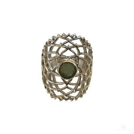 Moldavite Filigree Ring, Sterling Silver, Size 8-Jewlery-Cosmic Crystal Visions-Cosmic Crystal Visions