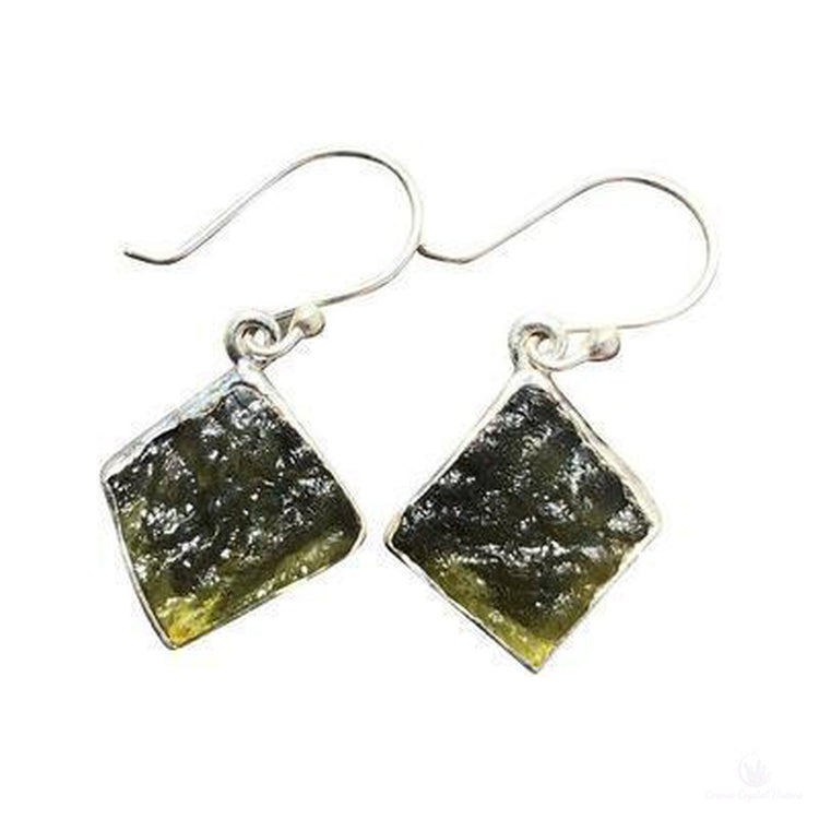 Moldavite Free Form Earrings-Jewlery-Cosmic Crystal Visions-Cosmic Crystal Visions