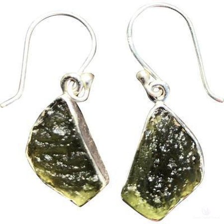 Moldavite Freeform Earrings-Jewlery-Cosmic Crystal Visions-Cosmic Crystal Visions