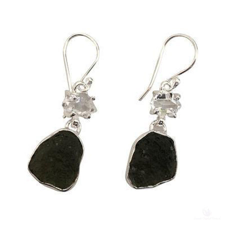 Moldavite & Herkimer Diamond Dangle Earrings, Sterling Silver-Jewlery-Cosmic Crystal Visions-Cosmic Crystal Visions