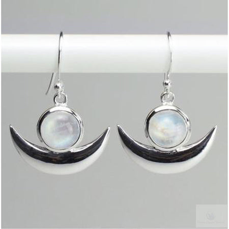 Moonstone Crescent Moon Goddess Earrings-Jewlery-Cosmic Crystal Visions-Cosmic Crystal Visions