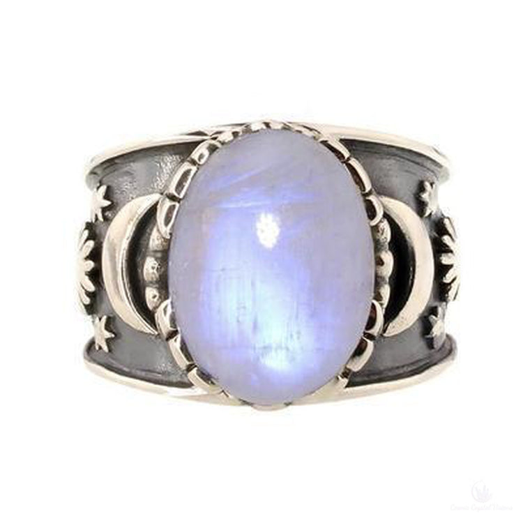 Moonstone Sun Moon Star Ring-Jewlery-Cosmic Crystal Visions-Cosmic Crystal Visions