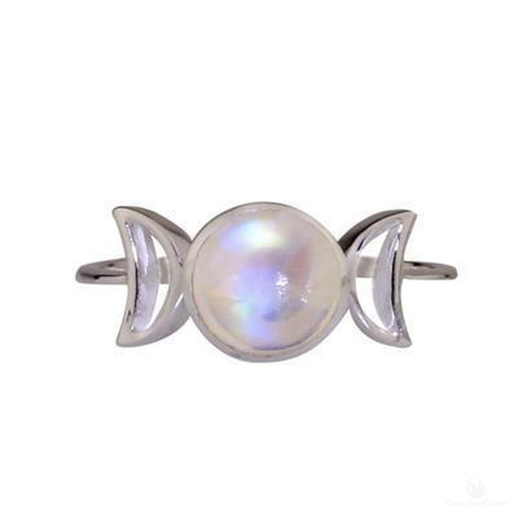 Moonstone Triple Goddess Ring Size 7 Goddess Collection.-Cosmic Crystal Visions-Cosmic Crystal Visions