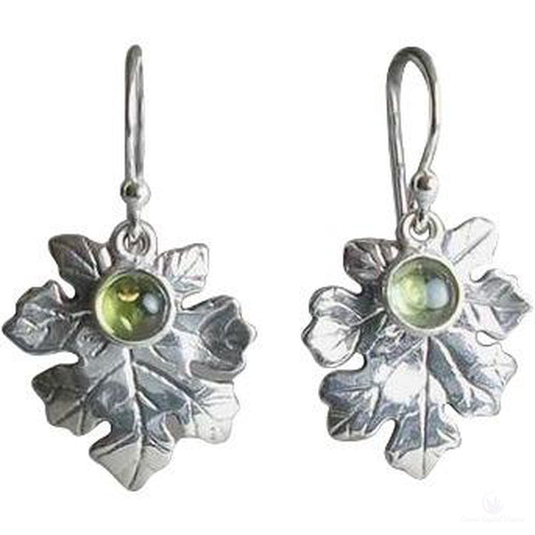 Peridot Oak Leaf Earrings-Cosmic Crystal Visions-Cosmic Crystal Visions