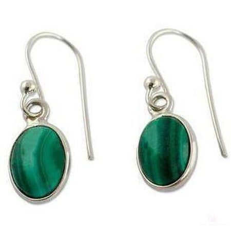 Polished Malachite Dangle Earrings, Sterling Silver-Jewlery-Cosmic Crystal Visions-Cosmic Crystal Visions