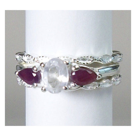 Ruby & Clear Quartz Stack Ring Size 6-Cosmic Crystal Visions-Cosmic Crystal Visions