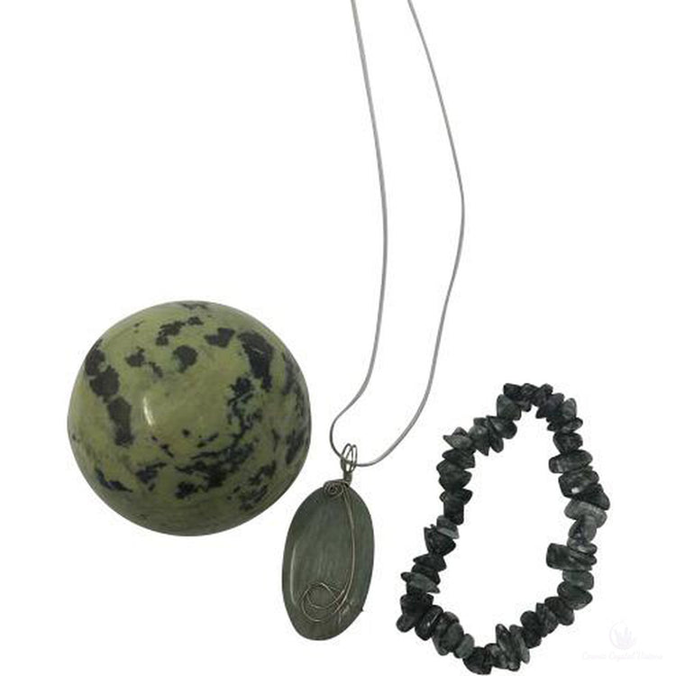 Seraphinite Crystal Gift Set Silver Wire Wrapped Pendant Necklace-Cosmic Crystal Visions-Cosmic Crystal Visions