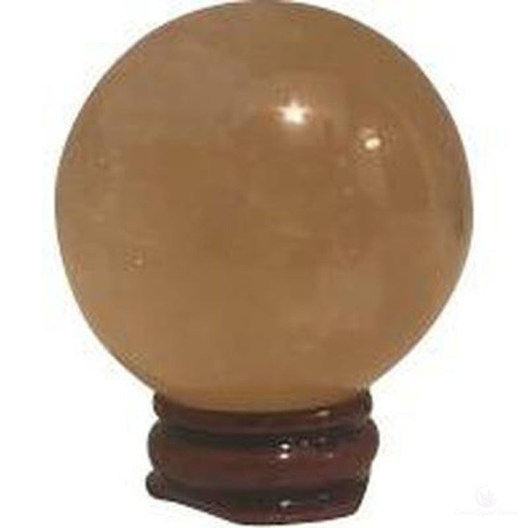 Small Honey Calcite Sphere With stand-Cosmic Crystal Visions-Cosmic Crystal Visions