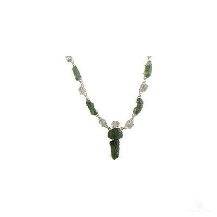 "Stunning Moldavite & Herkimer Diamond 16"" Sterling Silver Necklace-Jewlery-Cosmic Crystal Visions-Cosmic Crystal Visions"