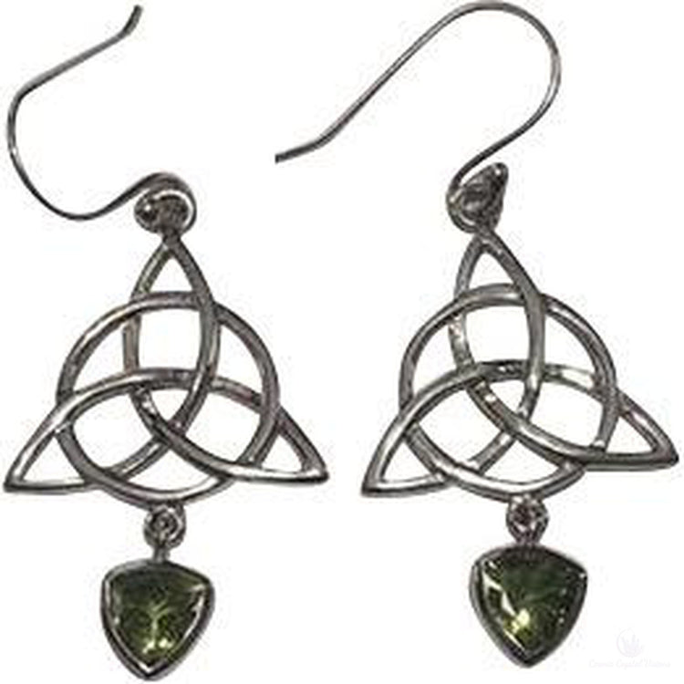 Trinity Knot Circle of Life Peridot Earrings Sterling Silver-Cosmic Crystal Visions-Cosmic Crystal Visions
