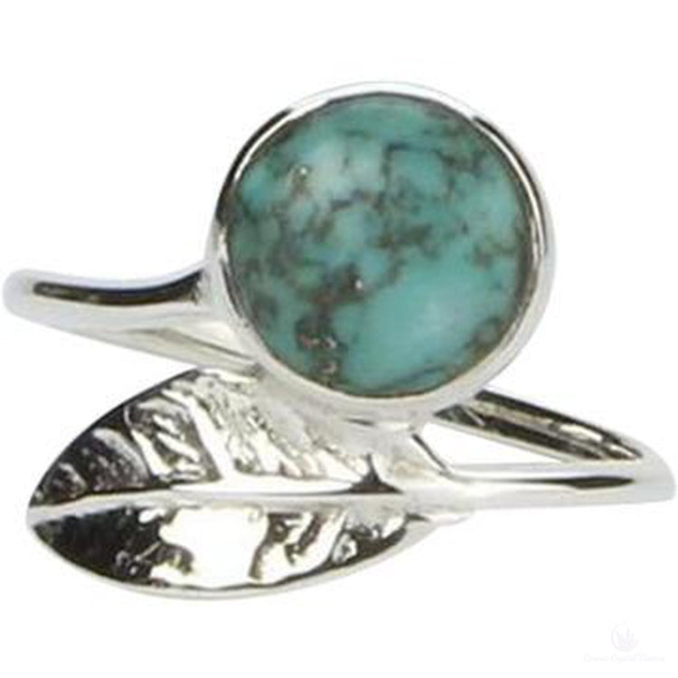 Turquoise Leaf Ring-Jewlery-Cosmic Crystal Visions-Cosmic Crystal Visions
