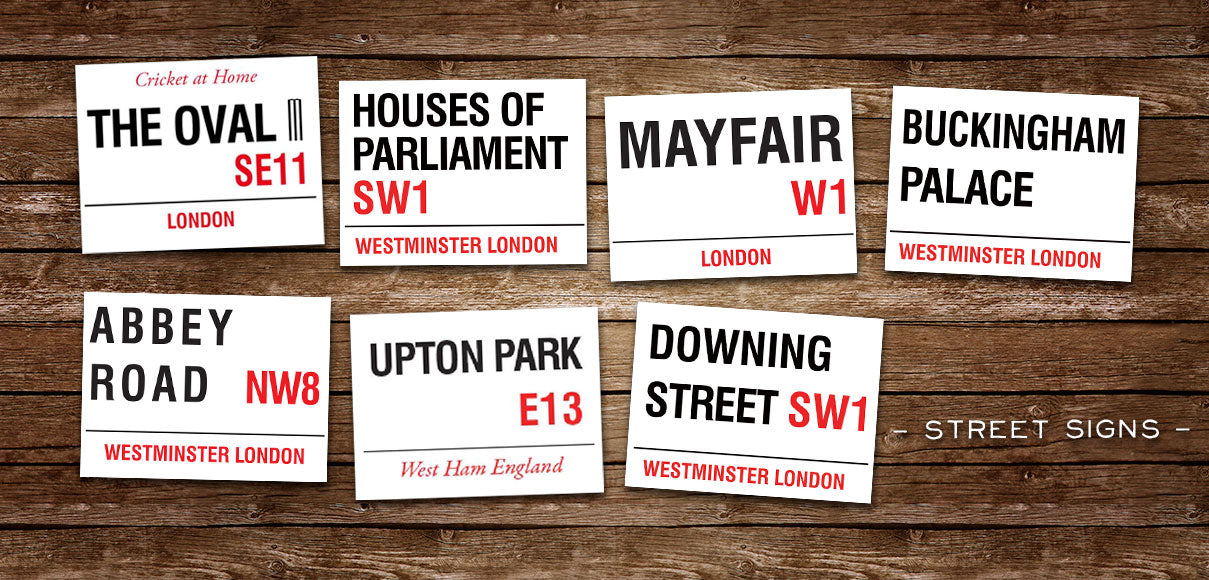 Wide range if street sign metal signs. Abbey Road, Mayfair & more