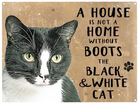 House is not a home - Black & White Cat - Personalised