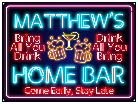 Home Bar neon look - Personalised