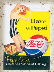Pepsi Cola - Have A Pepsi - Refreshes (Redhead In Swimsuit)