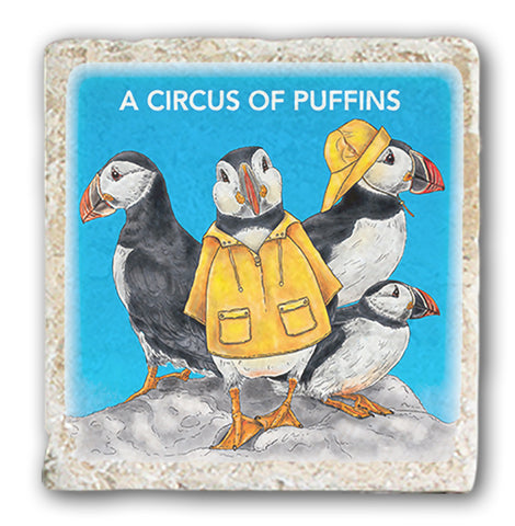 Marble Coaster - A Circus Of Puffins Marble Coaster (Single)