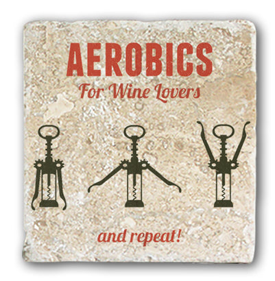 Marble Coaster - Aerobics For Wine Lovers Marble Coaster (Single)