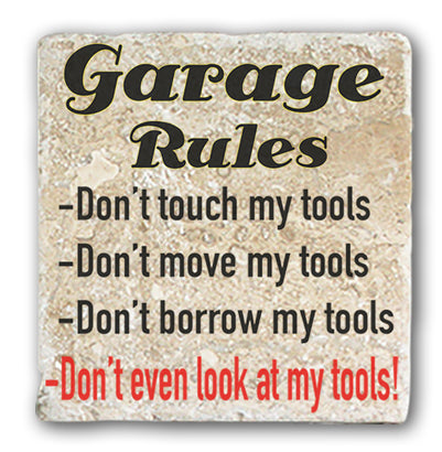 Marble Coaster - Garage Rules Marble Coaster (Single)