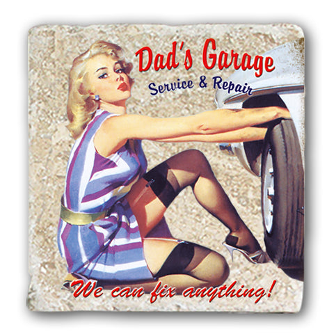 Marble Coaster - Dads Garage Marble Coaster (Single)