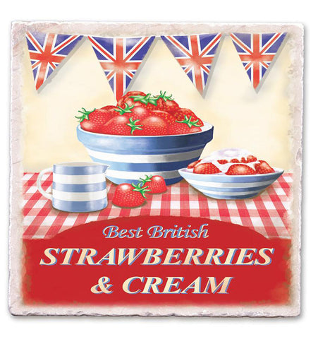 Marble Art Tile - Strawberries And Cream
