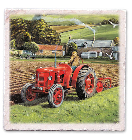 Marble Art Tile - Red Tractor